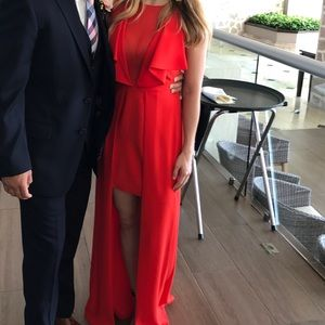 Plunging Veck red dress short to long BCBG gown